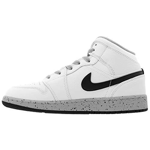 Nike Grey Jordan 1 Bg White Youth Entrenadores Wolf Mid Cuero Black PPxwra