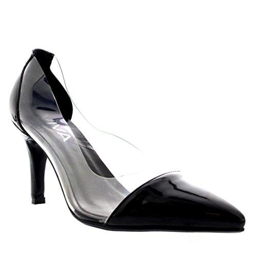 Zapatos De De La Moda Patentar Talón Puntiagudo Mujer Plexiglás Separar Dedo Negro Mediados Claro Corte qBxXzvp