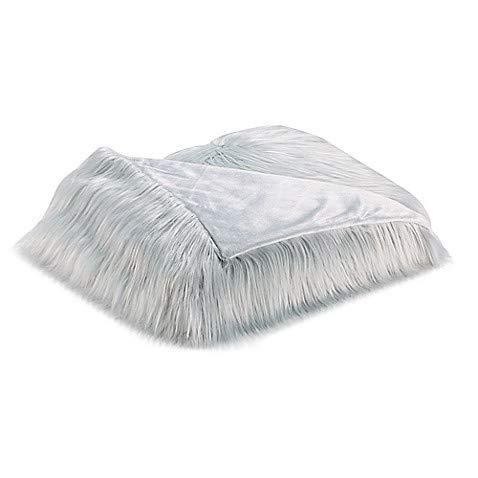 Flokati Faux Fur Throw Blanket in Spa - (60'' W x 50'' L) 100% Acrylic, Mongolian Fur Construction, Makes A Cozy Addition to Your Bed Or Sitting Room Sofa