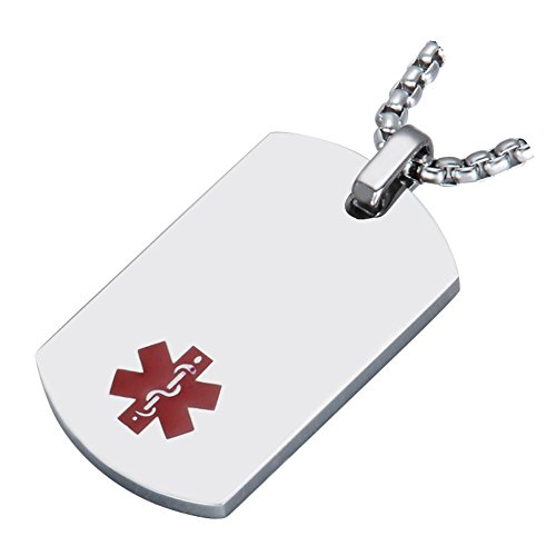 - Medical Alert Jewelry Custom Engraved Medic ID Necklace for Men Women,Chain 20-24 Inches