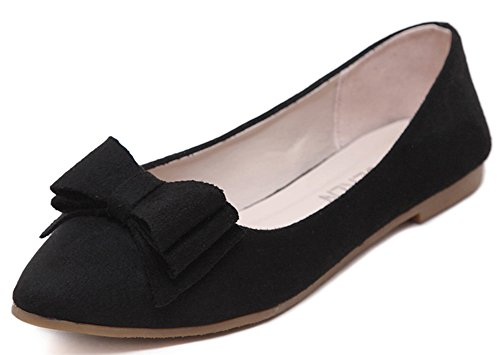 Idifu Womens Dressy Bow Scarpe A Punta Slip On Flats Scarpe Larghe Larghezze Nere 1