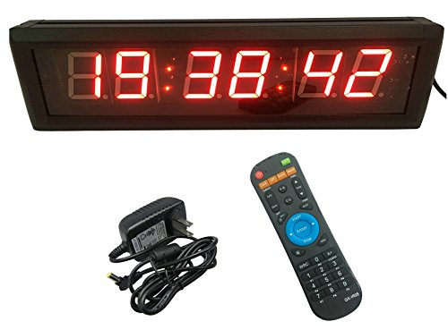 GAN XIN Multifunctional 2.3'' High 6 Digits LED Wall Clock, With Countdown/up Digital Timer, 12/24-Hour Real Time Clock, Stopwatch by Remote Control, Red Color (Digit Led 6)