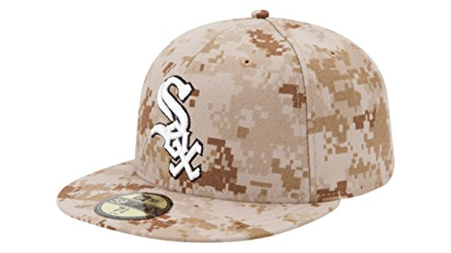 [Chicago White Sox Men's New Era MLB Baseball Memorial Day Stars & Stripes 59FIFTY Fitted Cap - Camo (7 3/8)] (Chicago White Sox Star)