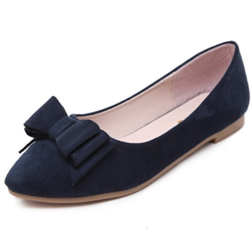 Weenfashion Womens Pull Fermé À Bout Pointu Floc Solide Flats-chaussures Avec Bowknot Darkblue (bowknot)