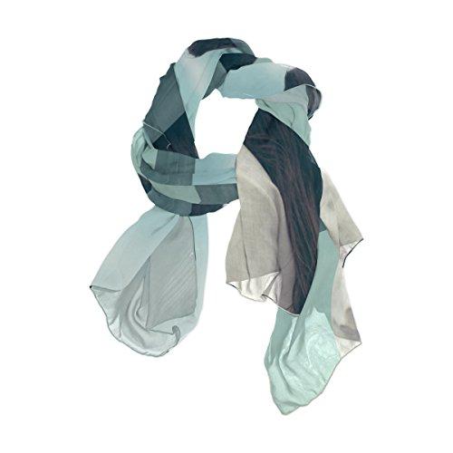 Bufandas de seda, ligeras, solas, persianas, azul, turquesa, delgada, para mujer