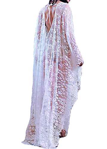 Sheer Caftan - Bestyyou Women's Lace Kaftan Long Maxi Dress Beachwear Bikini Swimsuit Caftan Cover up Swimwear (White B)