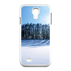 3D Okaycosama Funny Samsung Galaxy S4 Case Snow Trees Protector for Girls, Samsung Galaxy S4 Cases for Women, [White]