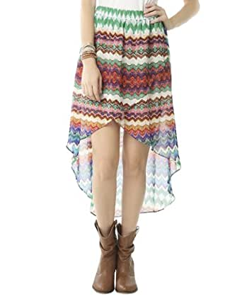 Wet Seal Women's Color Tribal High-low Skirt L Multi Colored