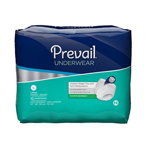 Prevail Maximum Absorbency Incontinence Underwear Large 16 Count (Pack of 4) Breathable Rapid Absorption Discreet Comfort Fit Adult Diapers