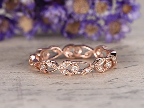 Solid 14k Rose Gold Ring,Floral,Full Eternity Band,Diamond Engagement Ring,Diamonds Wedding Band,Anniversary Ring,Stacking Band,Bezel by Myraygem