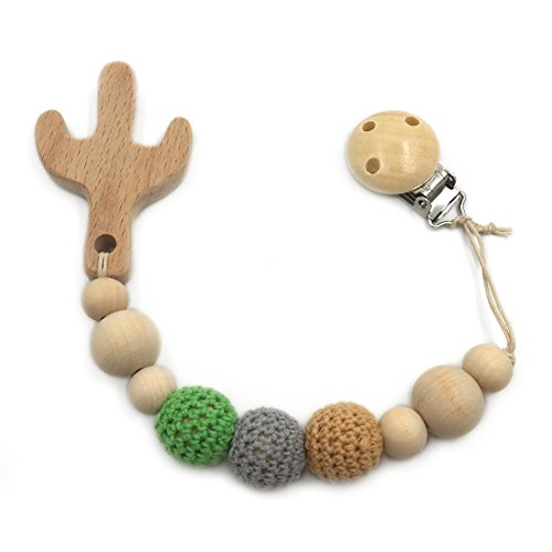 Amyster Baby Pacifier Clip Wooden Cactus Teether Eco-friendly Teething Crochet Beads Chew Nipple Folder Shaped Rattle Christmas Gift (Cactus)