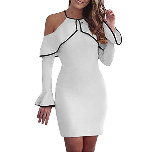 ANJUNIE Womens Off Shoulder Ruffles Bodycon Mini Dress Ladies Stretch Party Evening Dress(White,L) -