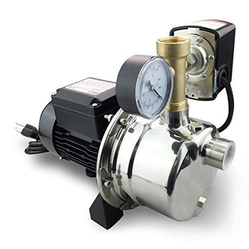 BACOENG 900GPH Shallow Well Jet Pump with Pressure Switch 20-40psi Stainless Steel Water Pump to Supply Fresh Water to Residential Homes Farms Cabins