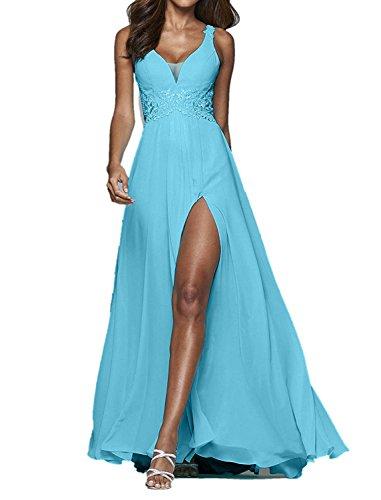 Charmant Spitze Chiffon blau Mit Himmel festlichkleider Damen Bodenlang Blau Abendkleider Partykleider Promkleider pqgp7rx
