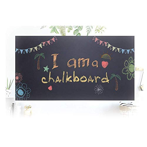 Chalkboard Contact Paper, Large Blackboard Wall Decal Self Adhesive Wallpaper Vinyl Peel and Stick Poster with 5 Chalks for Home Office School, 17.7 by 78.7 Inches