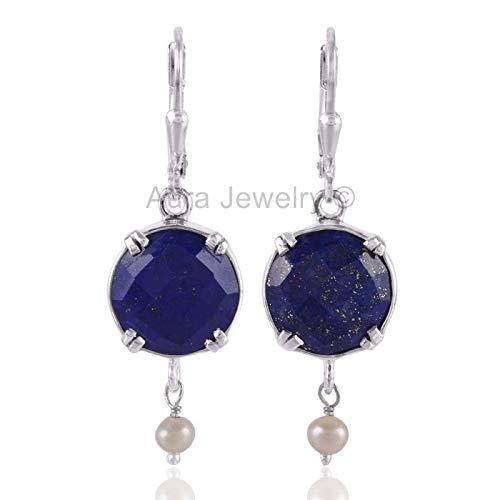 (925 Sterling Silver Earrings for Womens & Girls, Drop & Dangle Earrings, Lapis Lazuli, Pearl Earrings Sterling Silver for Womens & Girls, Gift for Womens, Mom, Bridesmaid Gift, Handmade Jewelry)
