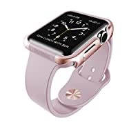X-Doria 38mm Apple Watch Case (Defense Edge) Premium Aluminum and TPU Bumper Frame (Rose Gold & Lavender)