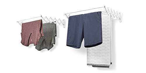 EverHome Wall-Mount Drying Rack, 24-inch Wide Frame, 7 Retractable Rods for Hanging Clothes, 2-Pack Set, White - Set of 2 space-saving accordion drying racks mount on walls for air drying wet clothes and towels Each rack provides 12.25 feet of drying space and 7 retractable rods for hanging garments Each unit expands fully open to 18 inches and compactly closes to 5.25 inches for storage - laundry-room, entryway-laundry-room, drying-racks - 41VAdATrtTL -