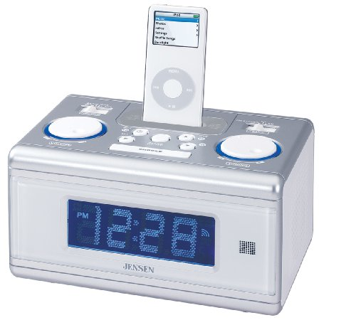 Jensen Universal Docking Station/Alarm Clock Digital Music System for iPod and MP3 Players(Silver) ()