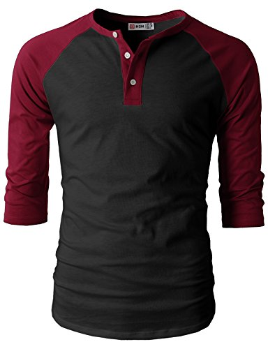 H2H Mens Casual Slim Fit Raglan Baseball 3/4 Sleeve Henley Button Down T-Shirts BLACKWINE US M/Asia L (CMTTS0174)