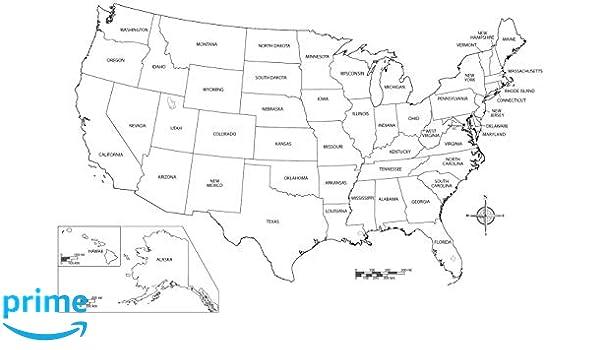 Amazoncom Home Comforts Laminated Map State City Printable Blank - Us-map-printable-blank