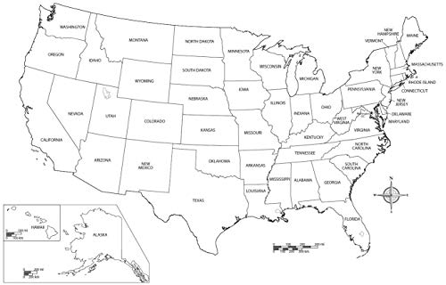 Home Comforts Laminated Map - State City Printable Blank Us Map Outlines 80 with On USA Extraordinary Black and White Outline - 24 x ()
