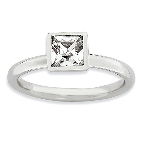 925 Sterling Silver Square April Swarovski Band Ring Size 6.00 Stackable Birthstone Gemstone White Topaz Fine Jewelry Gifts For Women For Her