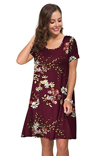 KORSIS Women's Summer Casual T Shirt Dresses Short Sleeve Swing Dress Pockets 5