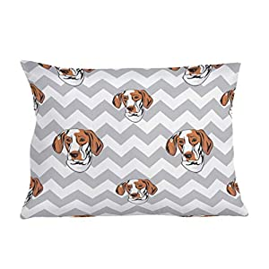 Style In Print Personalized Pillow Case Ariege Pointer Dog Gray Zigzag Polyester Pillow Cover 20INx28IN Design Only Set of 2 9