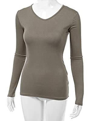 Doublju Women Long Sleeve V neck Slim Simple Basic T-shirt