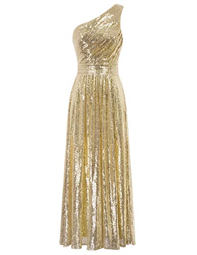 Women 's One Shoulder Sequin Maxi Long Evening Prom Dress,Gold/US12