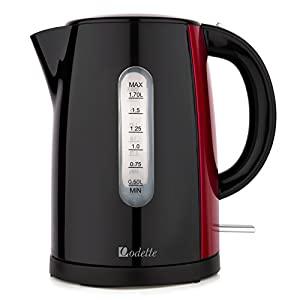 Extra Large Rapid Boil Cordless 7 Cup (1.7L) Black & Red Electric Kettle with Auto Shut Off