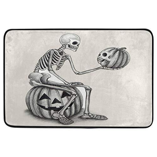 Halloween Doormat Home Decor Non Slip Washable Funny Minimalist Halloween Skull and Pumpkin Indoor Outdoor Entrance Bathroom Door Floor Mats Halloween Party Decorations Supplies,23.6 x 15.7 inch