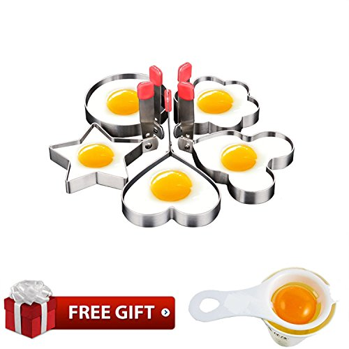 Fried Egg Mold Ring Pancake Cooker Nonstick Stainless Steel Set Of 5PCS Within Free Gift Of Egg Separator For Frying (Egg Mold)