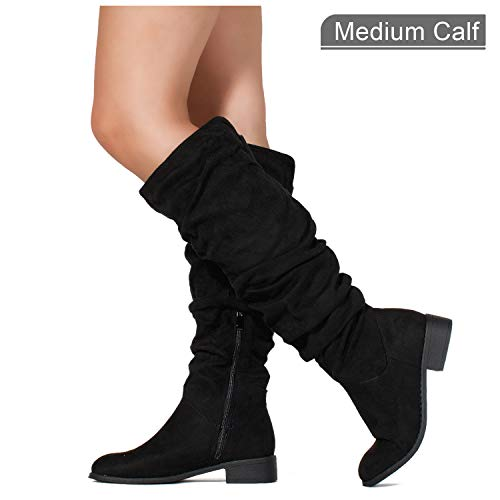 RF ROOM OF FASHION Women's Slouchy Pull On Low Block Heel Knee High Boots (Medium Calf) Black SU ()