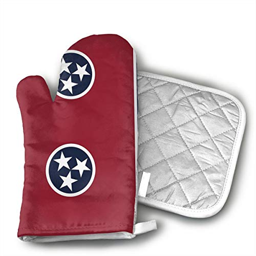 Tennessee State Flag Oven Mitts, Professional Heat Resistant Microwave BBQ Oven Insulation Thickening Cotton Gloves Baking Pot Mitts with Soft Inner Lining