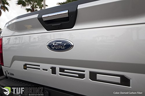 TufSkinz 2018 Ford F-150 Raised Tailgate Inserts (Domed Carbon (150 Carbon Insert)