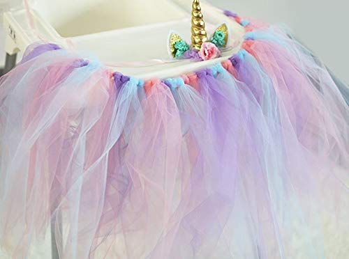 One Year Old Birthday High Chair Tutu Handmade 1st Highchair Party Decoration, Fabric Banner with Ribbon Backdrop, for Baby Boys and Girls (Tutu) ()