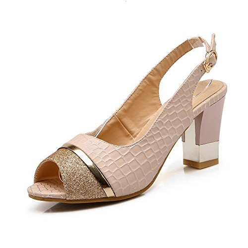 AgooLar Women's Buckle High-Heels PU Checkered Peep Toe Sandals Pink lnSqf3l