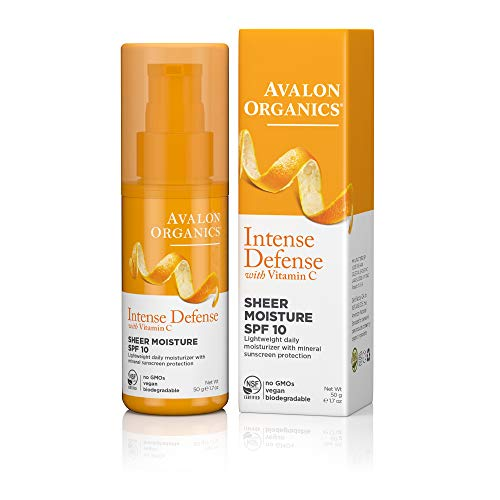 - Avalon Organics Intense Defense Sheer Moisture SPF 10 Moisturizer, 1.7 oz.