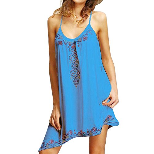 New in Respctful ❈ Summer Beach Dress Boho Flora Print Mini Dress Sexy Sleeveless Casual Hem Top Party Cocktail Dress Blue from Respctful Women's Clothing
