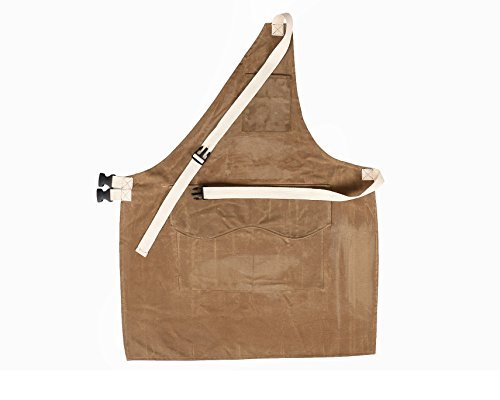 Waxed Canvas Tool Apron Upgraded Heavy Duty Working Protective Apron with Adjustable Quick Release Buckle Waterproof Workshop Apron For Men Women HSW-092-US (L Brown) by Hersent