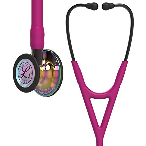 3M Littmann Cardiology IV Diagnostic Stethoscope, High Polish Rainbow-Finish Chestpiece, Raspberry Tube, Smoke Stem and Smoke Headset, 27 inch, 6241 (Color: Raspberry Tube,  Smoke Stem and Smoke Headset)