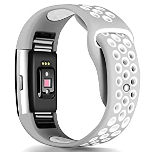 Band for Fitbit Charge 2 Heart Rate, Replacement Fitness Accessory Wristband (Z06-Gray,White, Small)