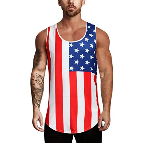 Men's Tank Top Shirt Sleeveless Independence Day Printing Sports for Gym Fitness Bodybuilding Running Jogging (L, Multicolor 2)