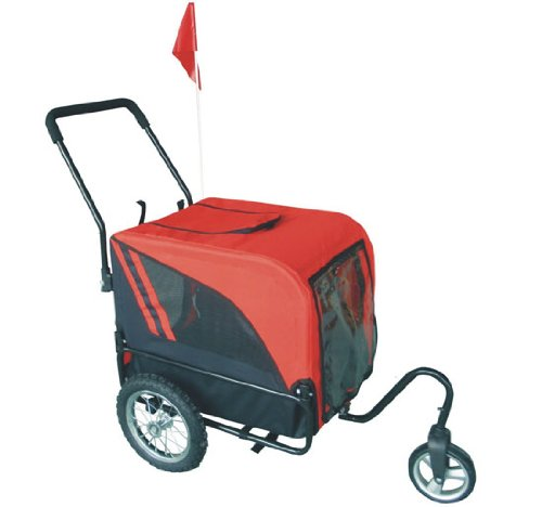 Aosom Elite-Jr Dog Pet Bike Trailer / Stroller w/ Swivel Wheel - Red / Black