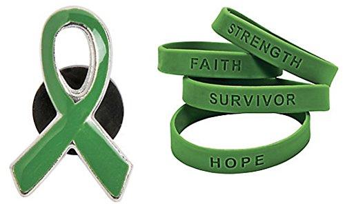 (Green Awareness Ribbon Pin and Inspirational Saying Bracelets (36)