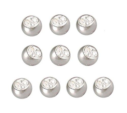 10 Replacement Belly Ring Clear swarovski cz gem Top Ball balls 5mm Silver 10pcs navel button piercing bar body jewelry 14g - Ball Belly Ring