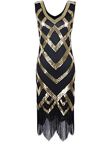 [PrettyGuide Women's 1920's Vintage Beads Sequin Crisscross Fringe Hem Flapper Dress Gold XXL] (Gold Flapper Dress)