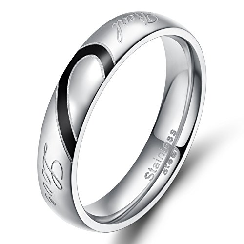 TIGRADE Men,Women's Real Love Heart Stainless Steel Band Ring Valentine Love Couples Wedding Engagement Promise -